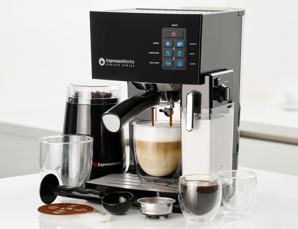 10 PC All-In-One Barista Bundle Espresso Machine & Cappuccino Maker, 19 Bar Pump Set/ Built In Milk Steam & Frother